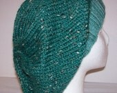 Wool/Alpaca-Tweed Slouch Hat - Slouchy Knit Beanie - Knitted Dreadlock Beanie - Emerald Green