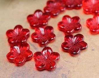 Red Czech Glass Flat Flower Beads Translucent Siam Ruby 16x4mm (15)