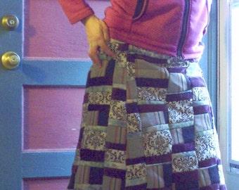 Aquamarine Kaleidoscope Patchwork Skirt -Size 8/9