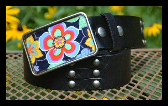 The Cindy Belt - Leather Belt with Bright Turquoise Flower Buckle