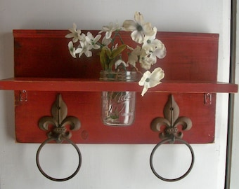 Country Primitive Cottage Bathroom or  Kitchen Fleur de Lis Towel Rings Shelf with Mason Jar