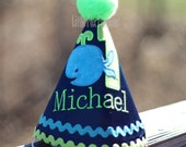 Children's Personalized Whale Birthday Hat Personalized, Custom, First Birthday, Personalized, YOU CHOOSE Colors & Birthday Number