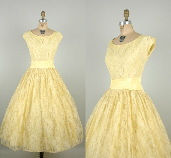 1950s Pale Yellow Prom Dress / Vintage Lace Tea Length Wedding