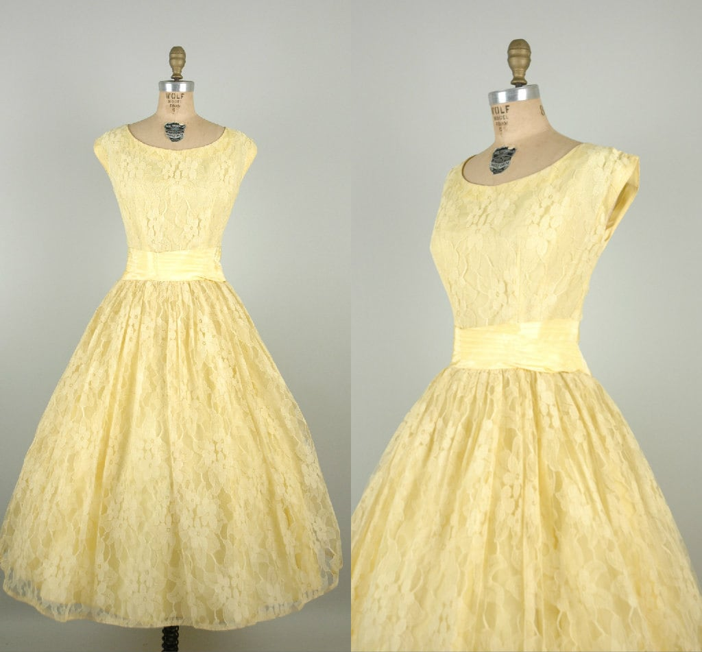 1950s pale yellow prom dress vintage lace tea length wedding for Yellow dresses for weddings