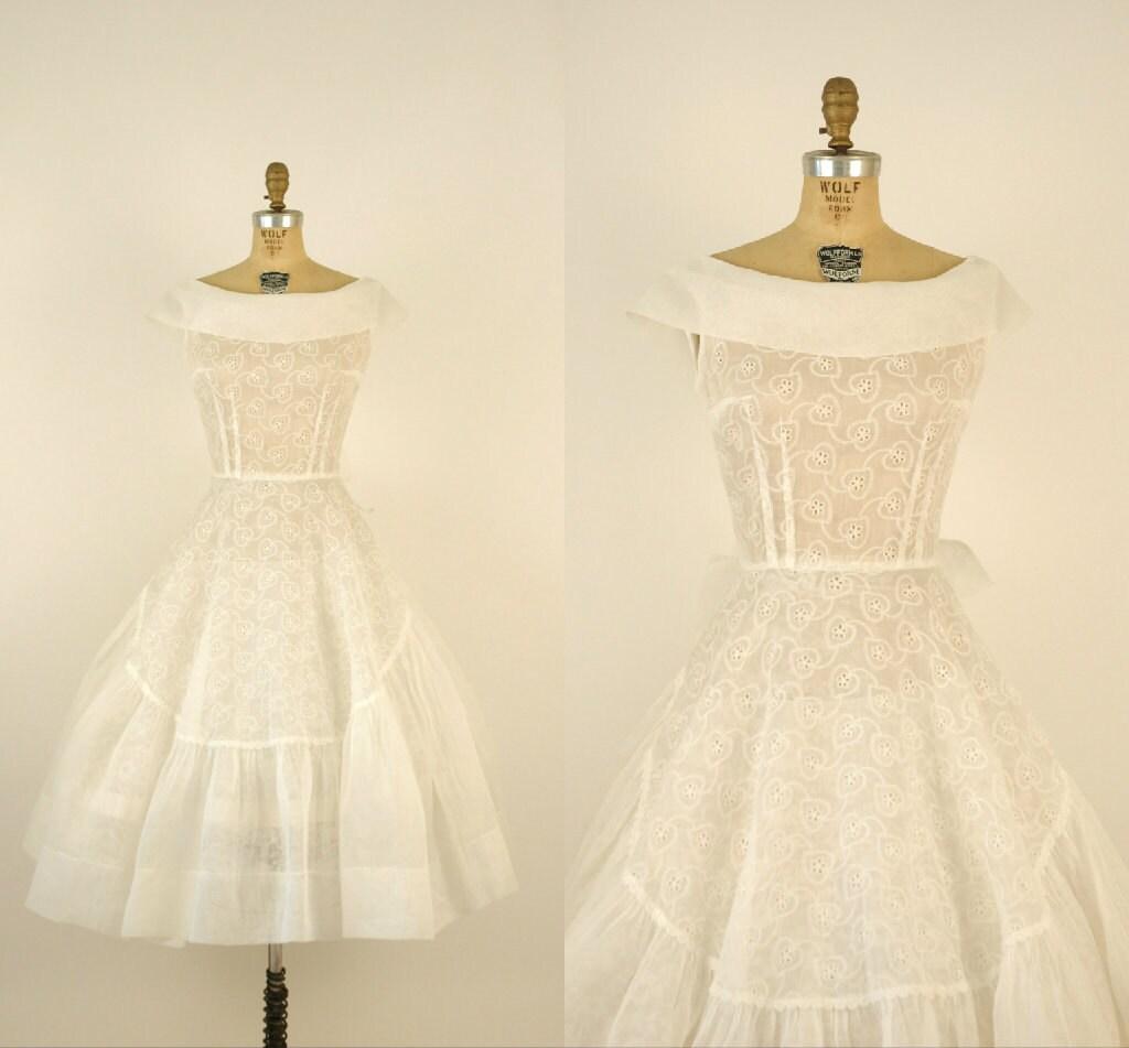 1950s Wedding Dress Vintage Sheer White Cotton Dress