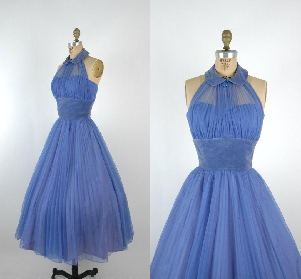 1950s Halter Prom Dress Vintage Periwinkle Party Dress