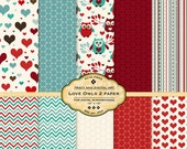 NEW Love Owls 2 Valentine Digital Papers