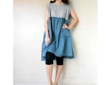 Custom Made Blue  Gray  cotton ruffle tunic dress Boho  blouse ( H)