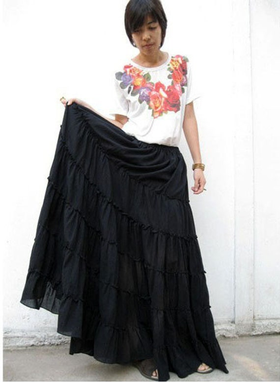 Custom Made Black Ruffle Cotton Dance Hippie Gypsy Boho Pluse size Elastic Waist Long Skirt M-L (H)