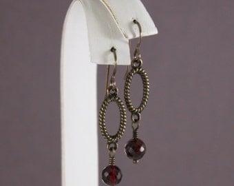 Vintaj natural brass earrings textured Antique Brass oval connectors Garnet by EarthsOpulence