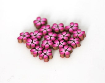 Hot Pink Flowers, Polymer Clay Beads, Fuschia Cane Slices 15 pieces
