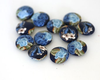 Winterflower Blue Polymer Clay Lentil Bead Dozen - Made to Order