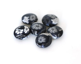 Black and White Beads, Polymer Clay Lentils, Greyscale Roses 6 Pieces