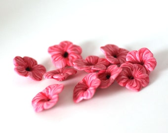 Red Flower Beads, Striped Polymer Clay Beads 10 Pieces