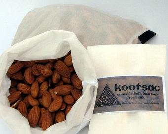 Biodegradable food bag, reusable bulk food bag, snack bag, produce bag, travel food bag, natural silk, white, medium size