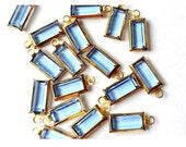5 Vintage Swarovski baguette translucent  light blue crystal channel dangling beads rectangle