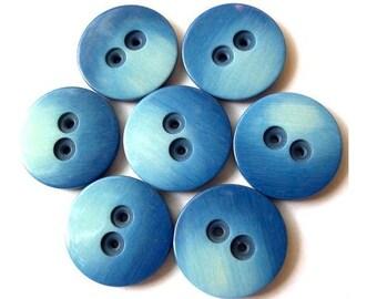 6 Vintage buttons unique blue shades 23mm