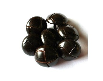 Leather buttons, 6 vintage dark brown almost black leather buttons, 15mm, metal shank