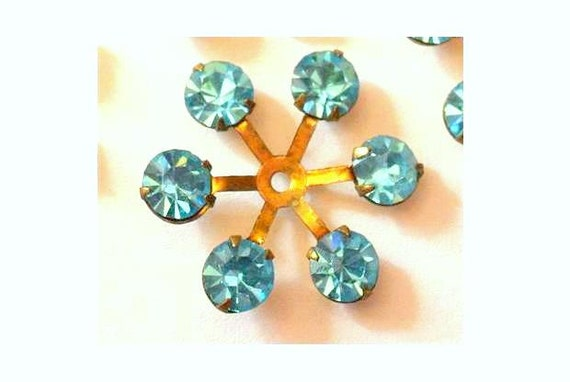 RESERVED-6 Vintage SWAROVSKI beads brass setting flower with light blue rhinestone crystals 14mm