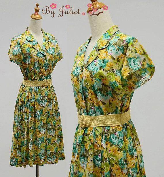 Vintage 80s 90s Dress Cotton Floral Print Orange Yellow Green