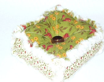 Ashlawnfarms, Rag Quilt Pincushion, Rag Quilted Pincushion, Sewing Gift, Pin Keep, Pin Cushion, Summer's Basket of Flowers