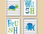 Nautical Boy Wall Art, CANVAS or Prints Nursery Child Wash Brush Boy Ocean Sea Blue Green Fish Turtle Cute Set of 4 BATHROOM Bath Pictures,