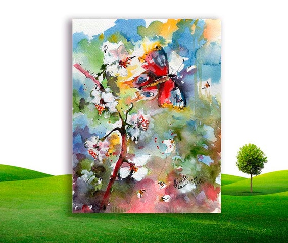 Spring Blossoms with Butterfly and Bees Original Watercolor by Ginette Callaway