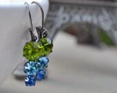Olivine, Aquamarine Capri Blue Swarovski Earrings, Lever Back Pendant, Ombre Graduated Glass Rhinestone, Bridesmaid Earrings
