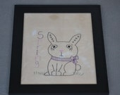 Primitive Bunny Stitchery Sale, Framed Spring Wall Decor