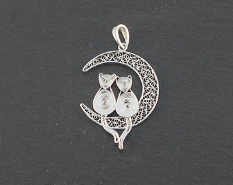 cats on the moon - silver filigree pendant