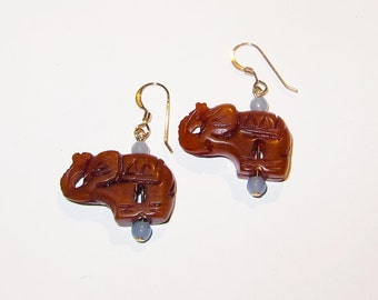 New Jade Elephant Earrings