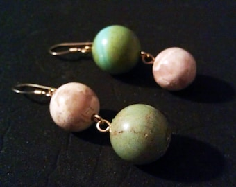 Asymmetrical White and Green Magnesite Earrings