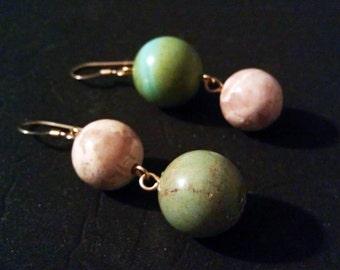 Asymmetrical White and Green Magnesite Earrings