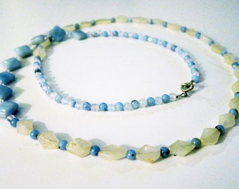 Asymmetrical Yellow Citrine, Amazonite, and Rose Quartz Beaded Necklace