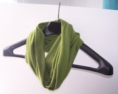 Infinity Scarf, Spring Moss Green, Jersey knit