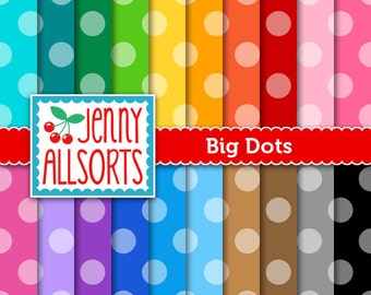 Big Dots Digital Papers 20 Sheets in Rainbow Colors - Instant Download