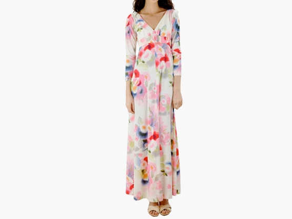 Belted White Floral Maxi Dress