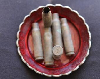 6 empty brass shell casings - 51x11mm