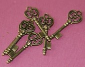 6 pcs of Antiqued brass finished key charm 36x11mm