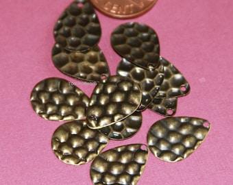 50 pcs of Antiqued brass texture teardrop 16x11mm