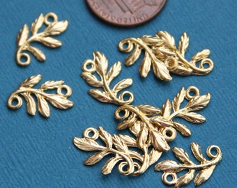 10 pcs of Gold plated leaf branch connector 15x11mm