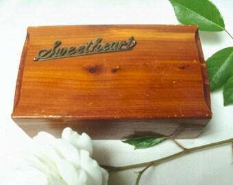 Vintage Sweetheart Cedar Jewelry Box
