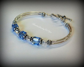 Light Sapphire Crystal Bracelet: blue jewelry, bracelet crystal, something blue, september birthstone jewelry, something blue wedding, bride