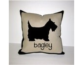 SCOTTIE PERSONALIZED PILLOW - Scottish Terrier Personalized Pillow - One of a Kind, Handmade, Custom - 2 Designs Available