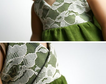 LAST ONE - Fits like American Girl Doll Clothes - A Halter Dress in Moss Green Linen and Lace, Made To Order
