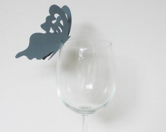 Wine Glass Butterfly Place Card Dove Gray (50)