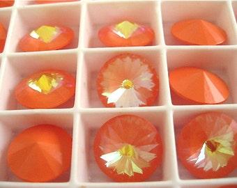 6 Ultra Orange AB Swarovski  Rivoli Stone 1122 12mm