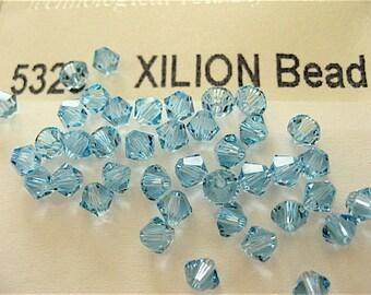 48 Aquamarine Swarovski Crystal Beads Bicone 5328 4mm