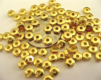 50 Heishi Hex Spacer Beads TierraCast Antiqued Gold Plated Pewter 4mm