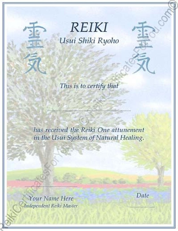 Customized reiki certificate templates tree by for Reiki certificate template software
